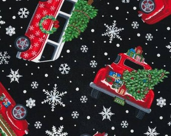 Quilt Fabric, Let It Snow, Christmas Trucks, Black Fabric, White Snowflakes, Christmas Fabric, Winter Fabric Timeless Treasures