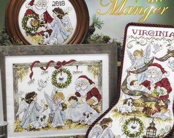 Counted Cross Stitch Pattern, Peace in the Manger, Christmas Stocking, Santa, Nativity, Christmas Decor, Stoney Creek, PATTERN ONLY