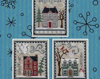 Counted Cross Stitch Pattern, Winter House Trio, Winter Decor, Cardinals, Snowman, Snowflakes, Evergreens, Waxing Moon Designs, PATTERN ONLY