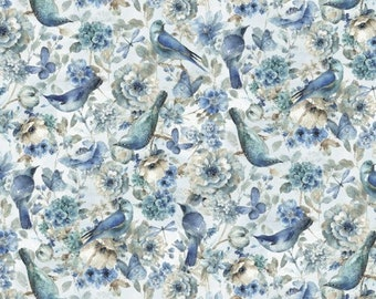 Quilt Fabric, Indigold Birds, Bluebirds, 100% Cotton, Quilters Cotton, Home Dec, Premium Cotton, Lisa Audit, David Textiles