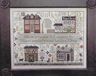 Counted Cross Stitch Pattern, Jenny Bean's Friendship Sampler, Reproduction Sampler, Inspirational, Shakespeare's Peddler, PATTERN ONLY