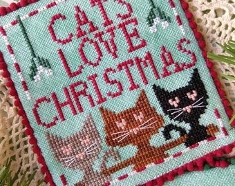 Counted Cross Stitch Pattern, Cats Love Christmas, Christmas Decor, Christmas Ornament, Cat Ornaments, Lindy Stitches, PATTERN ONLY