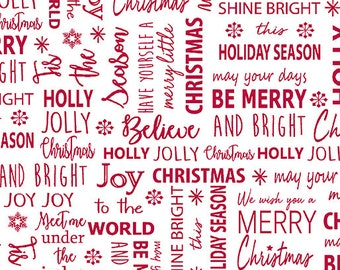 Quilt Fabric, Joy, Tis The Season, White Red, Christmas Fabric, Holiday, Benartex, Contempo, Cherry Blossom Quilting, Cherry Guidry