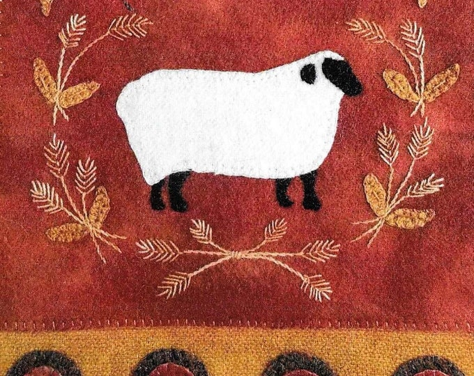 Featured listing image: Wool Applique Pattern, Simply Sheep, Wool Wallhanging, Harvest Sheep, Thanksgiving, Primitive Decor, Wool Mat, Sew Cherished, PATTERN ONLY