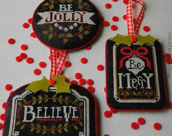 Counted Cross Stitch Pattern, Chalkboard Ornaments, Christmas Collection One, Chalk Board Ornaments, Hands On Design, PATTERN ONLY