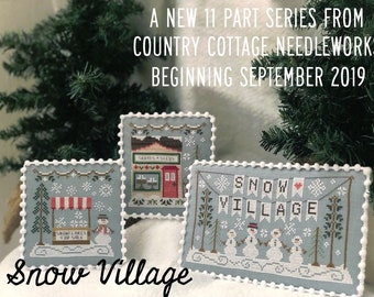 Counted Cross Stitch, Snow Village, Cross Stitch Patterns,  Cottage Decor, Winter Decor, Snowman, Country Cottage Needleworks, PATTERN ONLY
