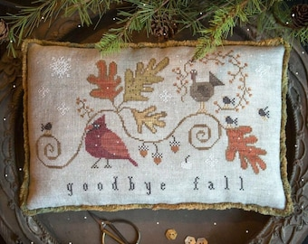 Counted Cross Stitch Pattern, Goodbye Fall, Fall Decor, Cardinal, Fall Leaves, Turkey, Primitive Decor, Plum Street Samplers, PATTERN ONLY