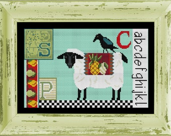 Counted Cross Stitch Pattern, Sheep Crow Sampler, Farmhouse Decor, Farm Animal, Folk Art Decor, Sheep Decor, Colonial Needle, PATTERN & KIT