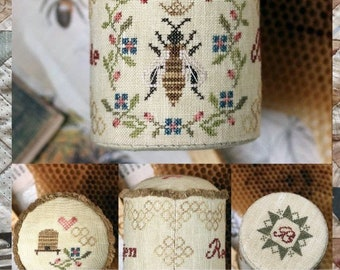 Counted Cross Stitch Pattern, Honeybee Pin Drum, Honeybees, Honey Bee Pin Keep, Pincushion, Personalized, Heartstring Samplery, PATTERN ONLY