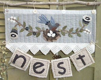 Wool Applique Pattern, N is for Nest, Bird Nest, Wool Wall Hanging, Spring Decor, Country Decor, Heart to Hand, Kathi Campbell, PATTERN ONLY