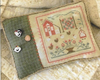 Counted Cross Stitch Pattern, The Rooster and the Hens, Farmhouse Decor, Pillow Ornament, Chickens, Little House Needleworks, PATTERN ONLY