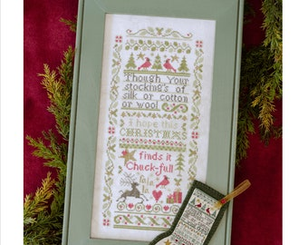 Counted Cross Stitch Pattern, Chuck-Ful Christmas, Christmas Stocking, Christmas Sampler, Cardinals, Reindeer, Erica Michaels, PATTERN ONLY