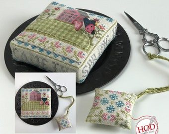 Cross Stitch Pattern, Came the Spring, Spring Decor, Saltbox Home, House on a Hill, Pincushion, Hands on Design, PATTERN ONLY