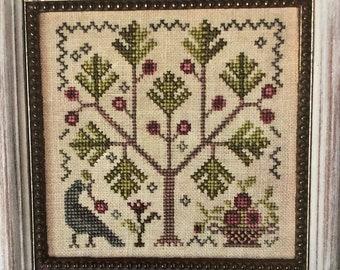 Counted Cross Stitch Pattern, Apple Orchard, Apple Tree, Apple Basket, Bird, Apples, Garden Decor, Blackbird Designs, PATTERN ONLY