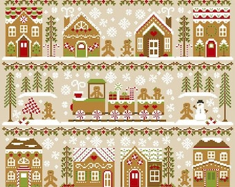 Counted Cross Stitch, Gingerbread Village, Gingerbread Train Christmas Decor, Cottage Chic, Country Cottage Needleworks, PATTERN ONLY