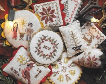 Counted Cross Stitch Pattern, Festive Little Fobs, Christmas, Ornaments, Scissor Fob, Beth Twist, Heartstring Samplery, PATTERN ONLY