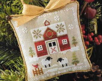 Counted Cross Stitch Pattern, Little Red Barn, Farmhouse Christmas, Cross Stitch Pillow, Ornament, Little House Needleworks, PATTERN ONLY