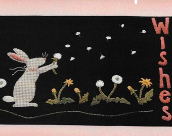Wool Applique Pattern, Dandelion Wishes, Wool Applique Table Runner, Spring Decor, Primitive Decor, Summer Decor, Nutmeg Hare, PATTERN ONLY
