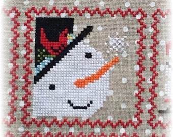 Counted Cross Stitch, Snowy 9 Patch, Snowman, Part 2, Snow, Winter Decor, Snowflakes, Cardinal, Annie Beez Folk Art, PATTERN ONLY
