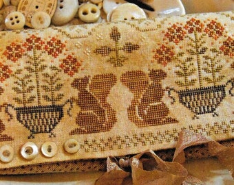 Counted Cross Stitch Pattern, Acorn Gathering, Sewing Roll, Cross Stitch, Primitive Decor, Squirrels, Fall,  Brenda Gervais, PATTERN ONLY