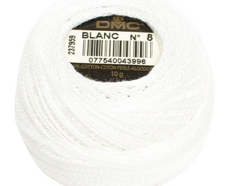 DMC Perle Cotton, Size 8, DMC Blanc, White, Pearl Cotton Ball, Embroidery Thread, Punch Needle, Embroidery, Penny Rug,Sewing Accessory