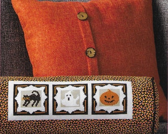 Counted Cross Stitch, Spooktacular Trio, Black Cat, Ghost, Pumpkin, Halloween Decor, Autumn Pillow, AnnaLee Waite Designs, PATTERN ONLY