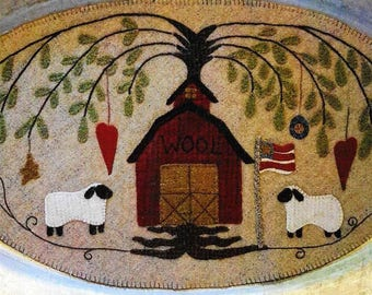 Wool Applique Pattern, Wool Barn, Table Mat, Patriotic Decor, Farmhouse, Primitive Decor, Wool Mat, Sew Cherished, PATTERN ONLY