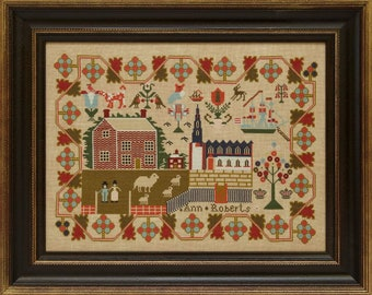 Counted Cross Stitch Pattern, Ann Roberts 1842, Reproduction Sampler, Welsh Reproduction, Village Scene, Hands Across the Sea, PATTERN ONLY