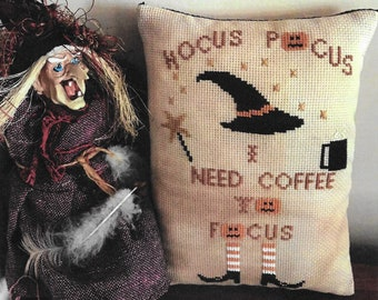 Counted Cross Stitch Pattern, Coffee to Focus, Halloween Decor, Witch, Pumpkins, Wand, Primitive, Twin Peak Primitives, PATTERN ONLY