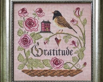Counted Cross Stitch Pattern, Heart Full of Gratitude, Songbird's Garden, Dark-eyed Junco, Roses, Folk Art, Cottage Garden, PATTERN ONLY