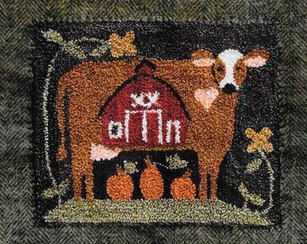 Punch Needle Pattern, Down on the Farm, Country Decor, Cow and Barn, Pumpkins, Punch Needle Patterns, Little House Needleworks, PATTERN ONLY