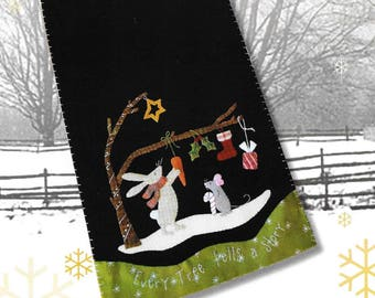 Wool Applique Pattern, Every Tree Tells a Story, Wool Applique Table Runner, Winter Decor, Rabbit, Mouse, Nutmeg Hare, PATTERN ONLY