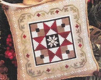 Counted Cross Stitch Pattern, Grandma's Quilt, Farmhouse Christmas, Cross Stitch Pillow, Ornament, Little House Needleworks, PATTERN ONLY