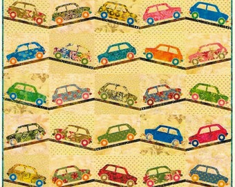 Quilt Pattern, Sweet Ride, Lap Quilt, Boy Quilt, Car Applique, Applique Quilt, Wallhanging, Edyta Sitar, Laundry Basket Quilts, PATTERN ONLY