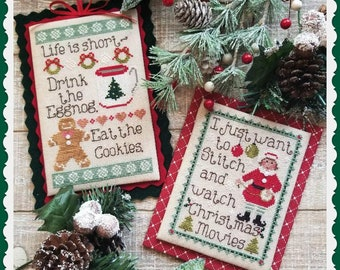 Counted Cross Stitch Pattern, Merry Musings, Winter Decor, Gingerbread, Elf, Eggnog, Christmas Ornaments, Waxing Moon Designs, PATTERN ONLY