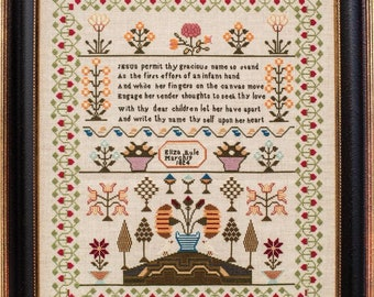 Counted Cross Stitch Pattern, Eliza Rule 1824, Reproduction Sampler, Floral Motifs, Religious, Hands Across the Sea, PATTERN ONLY
