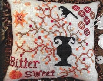 Counted Cross Stitch, Bittersweet, Primitive Crow, Halloween Decor, Autumn Pillow, Fall Ornament, Annie Beez Folk Art, PATTERN ONLY
