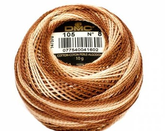 DMC Perle Cotton, Size 8, DMC 105, Tan Brown Variegated, Embroidery Thread, Punch Needle, Embroidery, Penny Rugs, Sewing Accessory