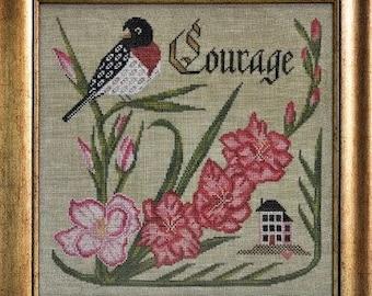 Counted Cross Stitch Pattern, Have Courage, Songbird's Garden, Rose-Breasted Grosbeak, Gladiolus, Folk Art, Cottage Garden, PATTERN ONLY