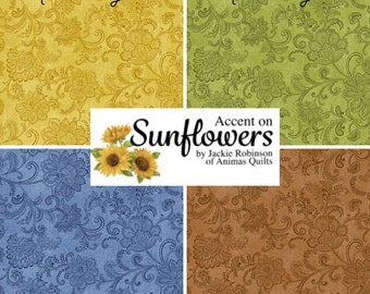 Quilt Fabric, Accent Floral, Floral Blender, Quilters Cotton, Accent on Sunflowers, Blender Fabric, Jackie Robinson, Animas Quilts, Benartex