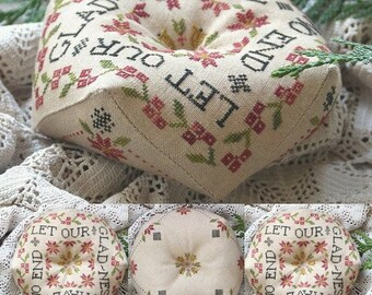 PRE-Order, Counted Cross Stitch Pattern, Let Our Gladness, Biscornu, Inspirational, Beth Twist, Heartstring Samplery, PATTERN ONLY