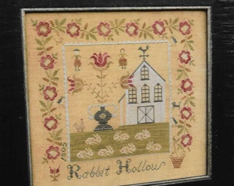 Counted Cross Stitch Pattern, Rabbit Hollow Farm Sampler, Colonial Style Needlework, Primitive Decor, Reproduction, Stacy Nash, PATTERN ONLY
