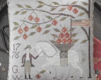 Counted Cross Stitch Pattern, Blueskin, Patriotic, Americana, George Washington, Cherry Tree, Horse, Plum Street Samplers, Pattern Only