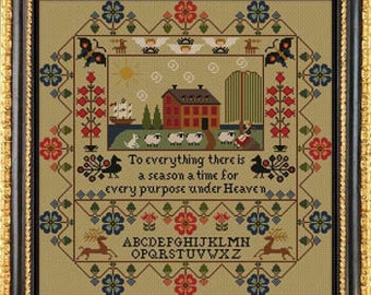 Counted Cross Stitch Pattern, Amity Manor, Inspirational, Sheep, Bunnies, Sampler, Country Rustic, Twin Peak Primitives, PATTERN ONLY