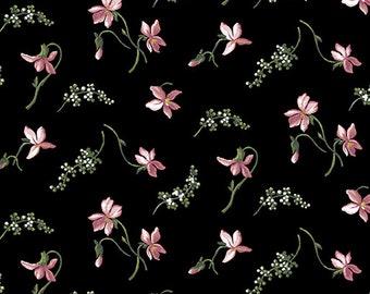 Quilt Fabric, Accent on Magnolias, Magnolia Blooms, Petite Coral/Black, Floral Quilt Fabric, Benartex, Jackie Robinson, Animas Quilts