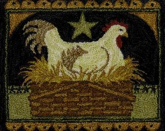 Punch Needle Pattern, Prim Hen in Basket, Nesting Hen, Country Decor, Primitive Decor, Teresa Kogut, Punch Needle Embroidery, PATTERN ONLY