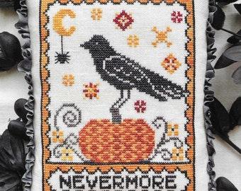 Counted Cross Stitch Pattern, A Raven's Reply, Fall Decor, Autumn, Pumpkin, Raven, Primitive Decor, Luminous Fiber Arts, PATTERN ONLY