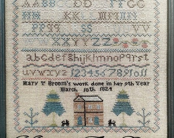 Counted Cross Stitch Pattern, Mary T Broom, Reproduction Sampler, Antique Reproduction, Primitive Decor, The Scarlett House, PATTERN ONLY