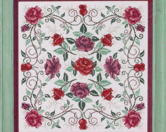 Counted Cross Stitch, Rosaceae, The Rose Mandala, Roses, Garden Decor, Rose Vines, Mandala, Cheryl Granda, Glendon Place, PATTERN ONLY