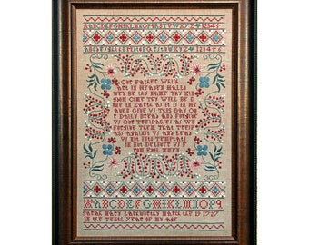 Counted Cross Stitch Pattern, Sarah Mary Larkworthy 1727, Reproduction Sampler, Lord's Prayer, Religious, Hands Across the Sea, PATTERN ONLY